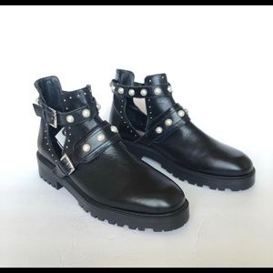 Zara Black Leather Pearl Combat Ankle Boots